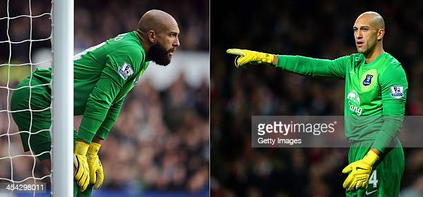 In this composite image the Everton goalkeeper Tim Howard can be seen with and without a beard which he shaved off prior to the Arsenal V Everton...