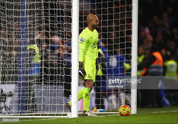 Tim Howard of Everton reacts after Chelsea's third goal during the Barclays Premier League match between Chelsea and Everton at Stamford Bridge on...