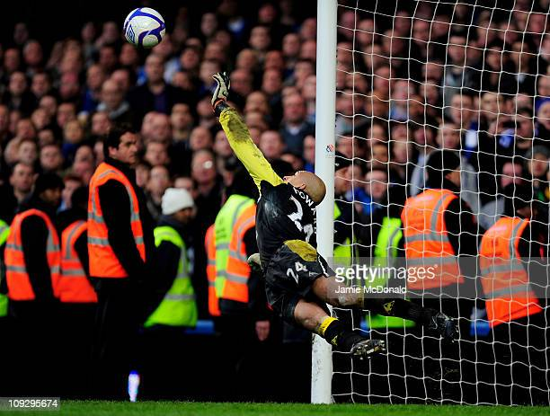 Tim Howard of Everton saves the penalty from Nicolas Anelka of Chelsea in the penalty shootout during the FA Cup sponsored by EON 4th round replay...
