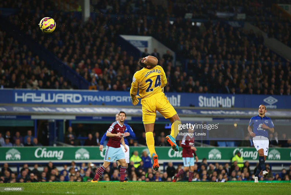 Tim Howard of Everton watches the ball loop over his head after a shot by Mauro Zarate of West Ham United for the equalising goal during the Barclays Premier League match between Everton and West Ham United at Goodison Park on November 22, 2014 in Liverpool, England.