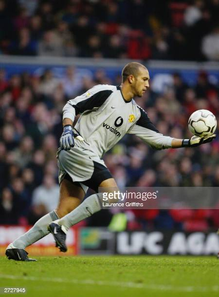 Tim Howard of Manchester United prepares to kick the ball upfield during the FA Barclaycard Premiership match between Liverpool and Manchester United...