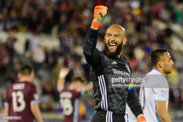 Tim Howard of the Colorado Rapids celebrates after defeating Minnesota United at Dick's Sporting Goods Park on June 8, 2019 in Commerce City,...