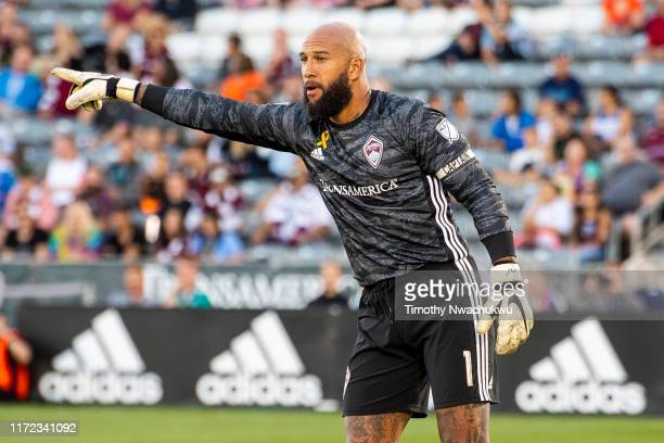 Tim Howard of the Colorado Rapids directs teammates against FC Dallas during the first half at Dick's Sporting Goods Park on September 29 2019 in...