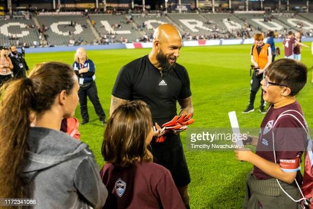 Tim Howard of the Colorado Rapids greets fans at Dick's Sporting Goods Park on September 29 2019 in Commerce City Colorado