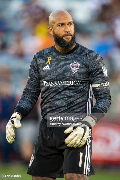 Tim Howard of the Colorado Rapids looks on against FC Dallas during the first half at Dick's Sporting Goods Park on September 29 2019 in Commerce...