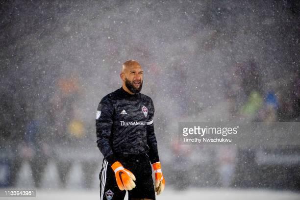 Tim Howard of the Colorado Rapids looks on during the second half against the Portland Timbers at Dick's Sporting Goods Park on March 2, 2019 in...
