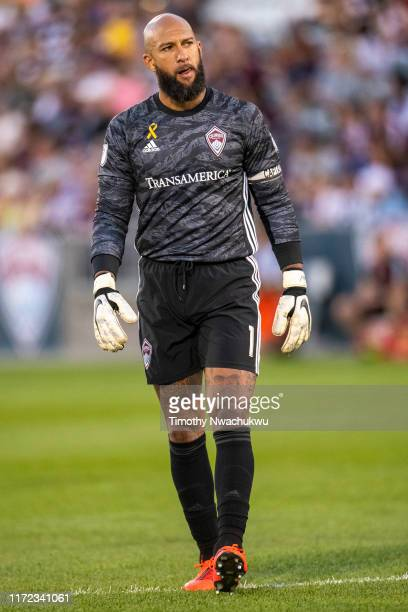 Tim Howard of the Colorado Rapids paces along the pitch against FC Dallas during the first half at Dick's Sporting Goods Park on September 29 2019 in...
