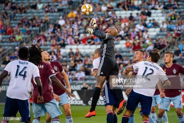 Tim Howard of the Colorado Rapids reaches to block a corner kick during the first half against FC Dallas at Dick's Sporting Goods Park on September...