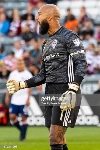Tim Howard of the Colorado Rapids reacts after making a save against FC Dallas during the first half at Dick's Sporting Goods Park on September 29...