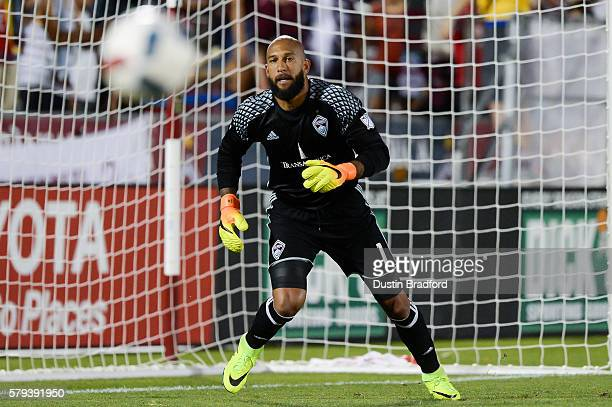 Tim Howard of the Colorado Rapids stands in the goal against the FC Dallas at Dick's Sporting Goods Park on July 23, 2016 in Commerce City, Colorado.