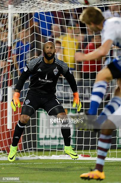 Tim Howard of the Colorado Rapids stands in the goal at Dick's Sporting Goods Park on July 23 2016 in Commerce City Colorado