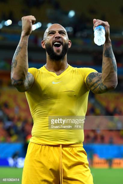 Tim Howard of the United States acknowledges the fans after the 22 draw in the 2014 FIFA World Cup Brazil Group G match between USA and Portugal at...