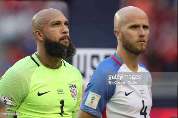Tim Howard of the United States and Michael Bradley of the United States during team presentations before the United States Vs Costa Rica CONCACAF...