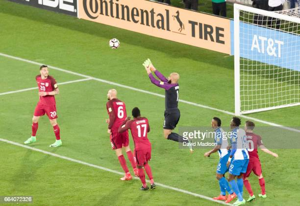 Tim Howard of the United States controls a corner kick during the FIFA 2018 World Cup Qualifier match between the United States and Honduras on March...