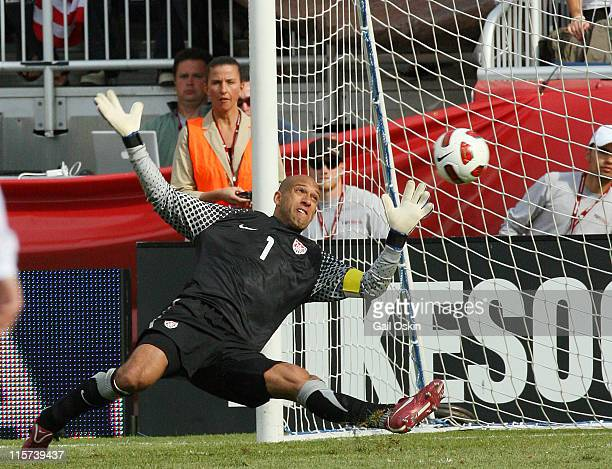 Tim Howard of the United States doesn't make the save during a game against Spain at Gillette Stadium on June 4 2011 in Foxboro Massachusetts