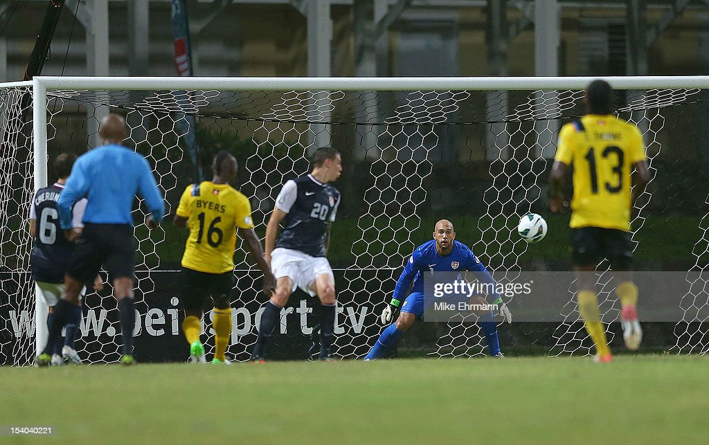 Tim Howard #1 of the United States makes a save during a World Cup Qualifying game against Antigua and Barbuda at Sir Vivian Richards Stadium on October 12, 2012 in Antigua, Antigua and Barbuda.