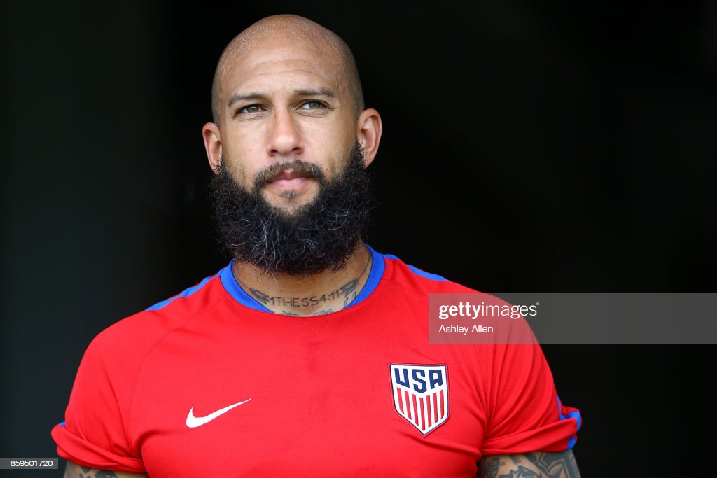 Tim Howard of the United States mens national soccer team during their training session at the Ato Boldon Stadium on October 9, 2017 in Couva, Trinidad And Tobago.