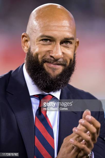 Tim Howard of the United States Men's team claps to fans as he is honored before the start of the Friendly match between the United States Men's...