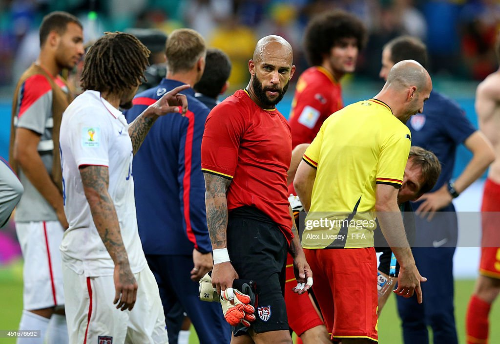 Tim Howard of the United States reacts after the 1-2 defeat in the 2014 FIFA World Cup Brazil Round of 16 match between Belgium and USA at Arena Fonte Nova on July 1, 2014 in Salvador, Brazil.