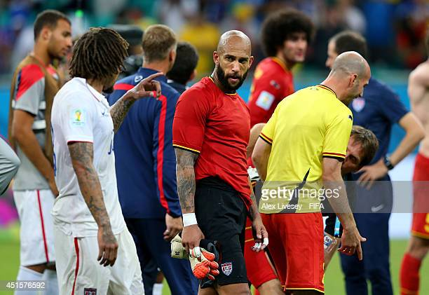 Tim Howard of the United States reacts after the 12 defeat in the 2014 FIFA World Cup Brazil Round of 16 match between Belgium and USA at Arena Fonte...