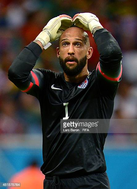 Tim Howard of the United States reacts during the 2014 FIFA World Cup Brazil Round of 16 match between Belgium and USA at Arena Fonte Nova on July 1...