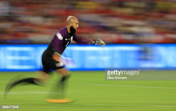 Tim Howard of United States of United States kicks the ball during the 2018 FIFA World Cup Qualifying match against Panama at Orlando City Stadium on...