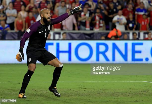 Tim Howard of United States of United States looks on during the 2018 FIFA World Cup Qualifying match at Orlando City Stadium on October 6 2017 in...