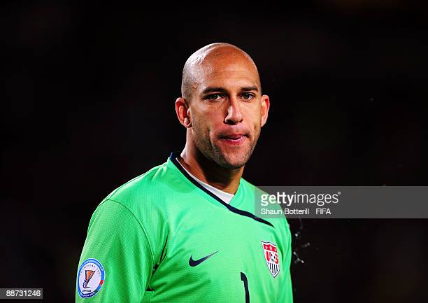 Tim Howard of USA looks on during the FIFA Confederations Cup Final match between USA and Brazil at Ellis Park Stadium on June 28 2009 in...
