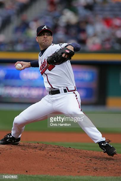 Tim Hudson of the Atlanta Braves pitches during the game against the Florida Marlins at Turner Field in Atlanta Georgia on April 15 2007 The Braves...
