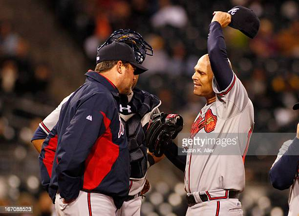 Tim Hudson of the Atlanta Braves reacts while giving up three runs in the fifth inning against the Pittsburgh Pirates during the game on April 19...