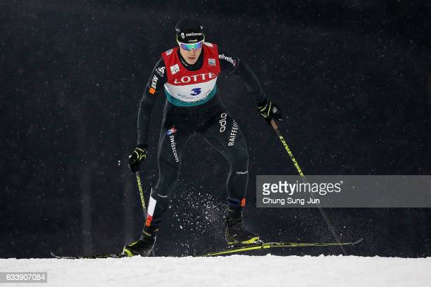 Tim Hug of Swiss competes in the Individual Gundersen 10km Large Hill during the FIS Nordic Combined World Cup presented by Viessmann Test Event For...