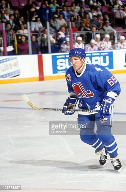 Tim Hunter of the Quebec Nordiques skates on the ice during an NHL game against the New York Rangers on October 29 1992 at the Madison Square Garden...