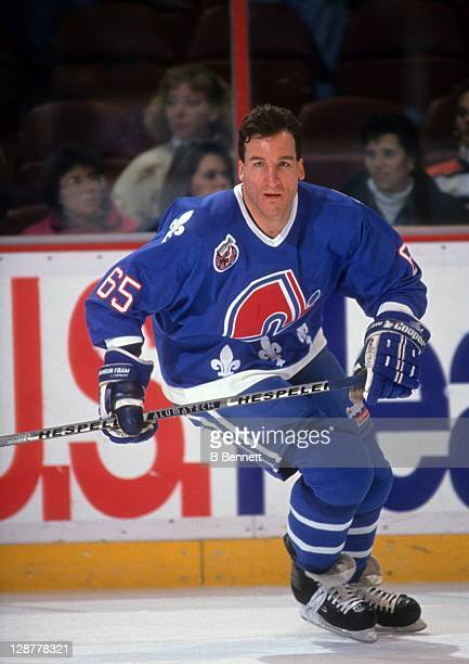 Tim Hunter of the Quebec Nordiques skates on the ice during warmups before the game against the Philadelphia Flyers on January 28 1993 at the...