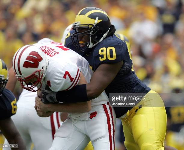 Tim Jamison of the Michigan Wolverines sacks quarterback John Stocco of the Wisconsin Badgers on September 23 2006 at Michigan Stadium in Ann Arbor...