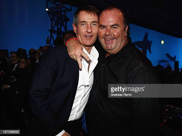Tim Jefferies and DJ Jack E attend the IWC Schaffhausen Top Gun Gala Event during the 22nd SIHH High Jewellery Fair at the Palexpo Exhibition Hall on...