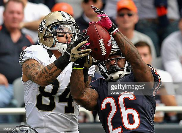 Tim Jennings of the Chicago Bears breaks up a pass intended for Kenny Stills of the New Orleans Saints at Soldier Field on October 6, 2013 in...