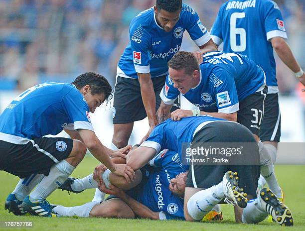 Tim Jerat Patrick Schoenfeld Fabian Klos Christian Mueller and Marcel Appiah of Bielefeld celebrate their teams third goal during the Second...
