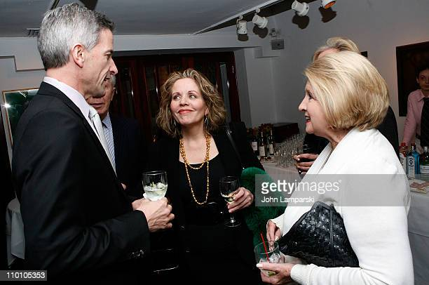 Tim Jessell Renee Fleming and Shirley Lord Rosenthal attend the 27th annual Evening of Readings PreGala kickoff at Michael's Restaurant on March 14...