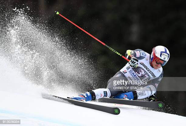 Tim Jitloff competes during the men's Giant Slalom first run at the FIS Alpine Skiing World Cup in GarmischPartenkirchen southern Germany on January...