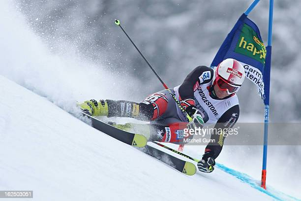 Tim Jitloff of the USA races down the course whilst competing in the Audi FIS Alpine Ski World Cup Men's Giant Slalom on February 24 2013 in Garmisch...