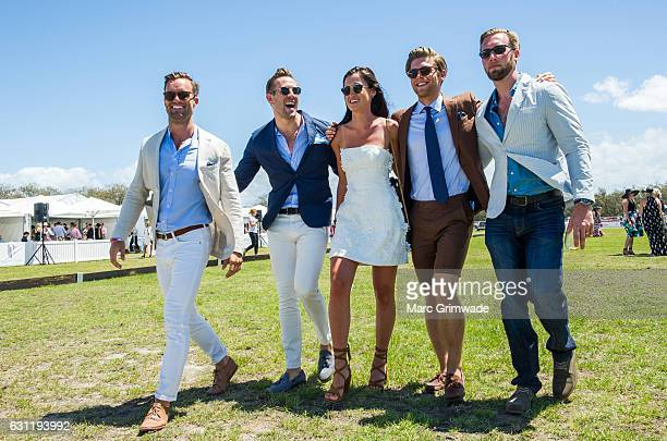 Tim Johnson Shaun Birley Bianca Pyers Sam Wines and Drew Winter attend Magic Millions Polo at Doug Jennings Park on January 8 2017 in Gold Coast...