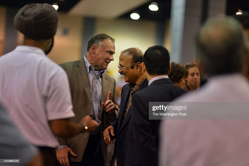 Tim Kaine 2nd From L Laughs With Dr Gopinath Jadhav Of Richmond At News Photo Getty Images