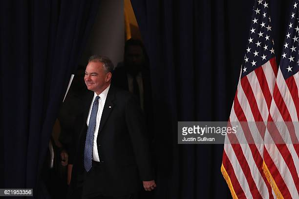 Tim Kaine running mate of former Secretary of State Hillary Clinton takes the stage to introduce her before she was to concede the presidential...