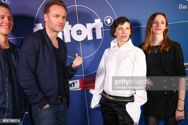 Tim Kalkhof Mark Waschke Meret Becker and Carolyn Genzkow main cast of the Berliner Tatort 'Meta' attend the 'Tatort Meta' premiere photo call at...
