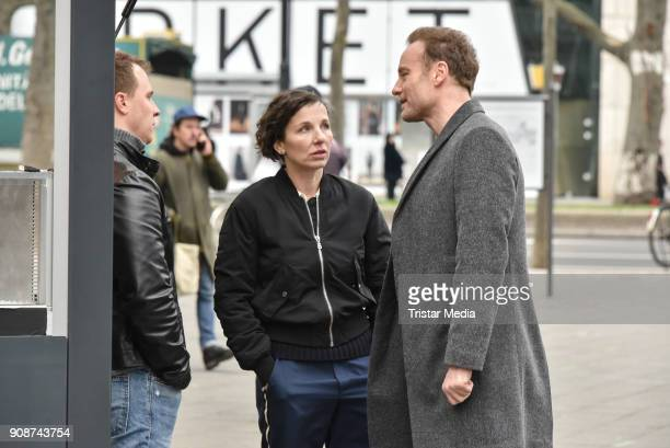 Tim Kalkhof Meret Becker and Mark Waschke during the Tatort on set Photo Call on January 22 2018 in Berlin Germany