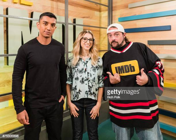 Tim Kash Kerri Dougherty and Kevin Smith during a taping of The IMDb Show on October 26 2017 in Studio City California The show airs November 17