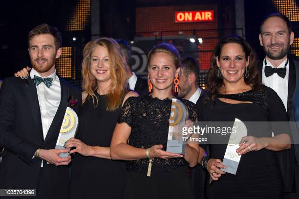 Tim Kehl and Patrizia Schlosser and Helena Daehler and Simone Panteleit attend the Deutscher Radiopreis at Schuppen 52 on September 6 2018 in Hamburg...