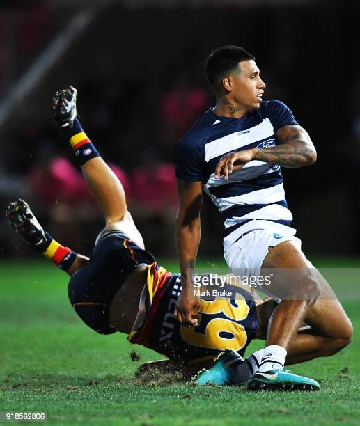 Tim Kelly of Geelong and Tom Doedee of the Adelaide Crows during the AFLX match between Adelaide Crows and Geelong at Hindmarsh Stadium on February...
