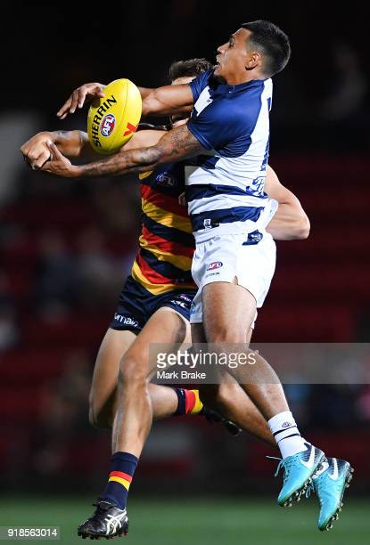 Tim Kelly of Geelong during the AFLX match between Adelaide Crows and Geelong at Hindmarsh Stadium on February 15 2018 in Adelaide Australia