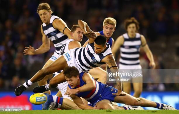 Tim Kelly of the Cats and Josh Dunkley of the Bulldogs compete for the ball during the round 16 AFL match between the Western Bulldogs and the...